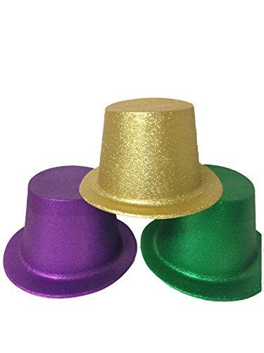 Green Glitter Top Hat (Purple/Green/Gold Mardi Gras Glitter Top Hat for Adults Lot of 12 Hats)