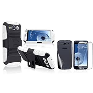 Bloutina Everydaysource Compatible with Samsung? Galaxy SIII / S3 Hybrid White Black Stand Silicone / Hard plastic Case...