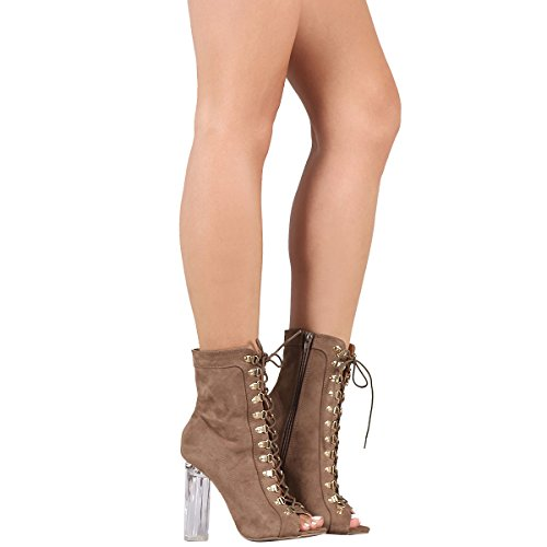 Wild Diva Womens Peep Toe Lace up Clear Lucite Chunky High Heel Ankle Booties Boot Shoe 8 Taupe (Clear Ankle Boots)