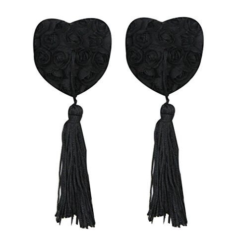 - Reusable Flower Silicone Pasties Bra Sexy Breast Petals with Tassel