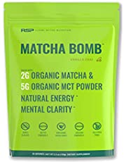 RSP Matcha Bomb - Organic Matcha Tea with MCT Powder for Natural Energy and Clarity, Non-GMO, Keto Friendly, Vegan Friendly, Gluten Free, (20 Servings)
