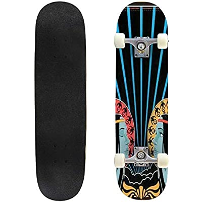 Classic Concave Skateboard 1960s 1970s Music Poster Cover Stylization Hippie Girls Vintage Decor Longboard Maple Deck Extreme Sports and Outdoors Double Kick Trick for Beginners and Professionals : Sports & Outdoors