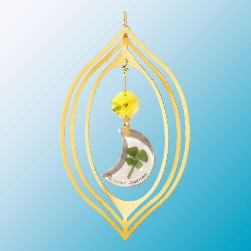 24K Gold Plated Hanging Sun Catcher or Ornament. Moon Shaped Four Leaf Clover & Gold Swarovski Austrian Crystals In a - Crystals Pewter Moon Austrian