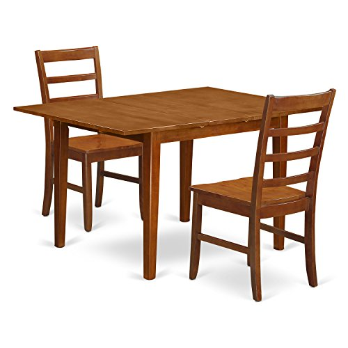 East West Furniture MLPF3-SBR-W 3 Piece Set Milan Dinette Table Having Leaf And 2 Wood Seat Dinette Chairs In Saddle Brown - Milan Set 5 Piece