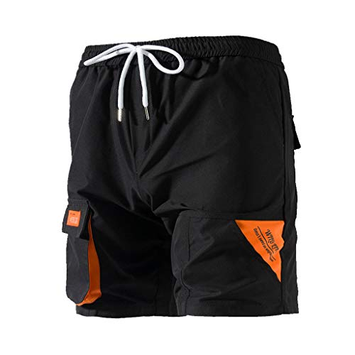 - Men's Cargo Shorts Relaxed Fit Multi-Pocket Outdoor Short Pants Elastic Drawstring Outdoor Relaxed Fit Shorts by Lowprofile D-Black