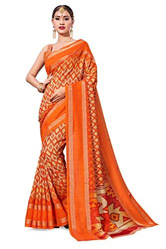 for Women Cotton Art Silk Sarees for Indian Wedding Gift, Sari and Unstitched Blouse Piece (Orange-2) ()