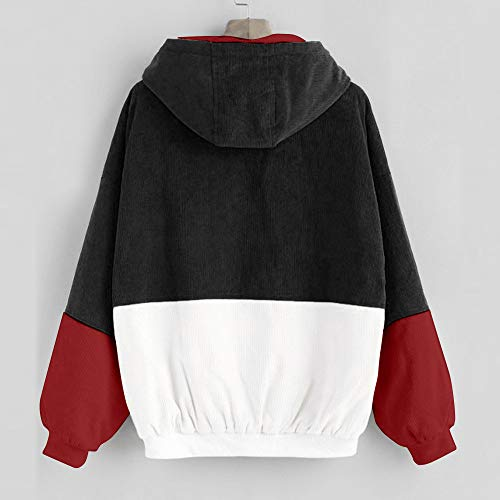 5b7d656c Amazon.com: Women Hoodie Jacket,Lelili Warm Three-Color Patchwork Long  Sleeve Zip Button Up Pockets Jacket Outwear Coat with Hood: Clothing
