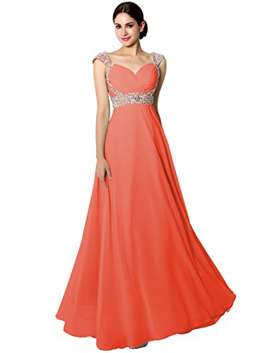 Sarahbridal Women's Long Prom Dresses Cap Sleeve Beaded Sequin Maxi Evening Party Dress Orange US6