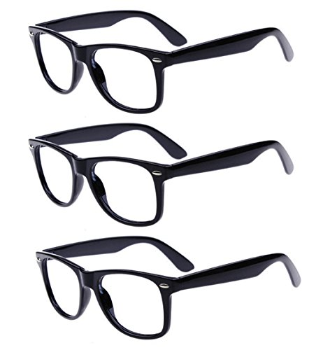 Outray Unisex Retro 80' Clear Lens Glasses 3 Pairs Black