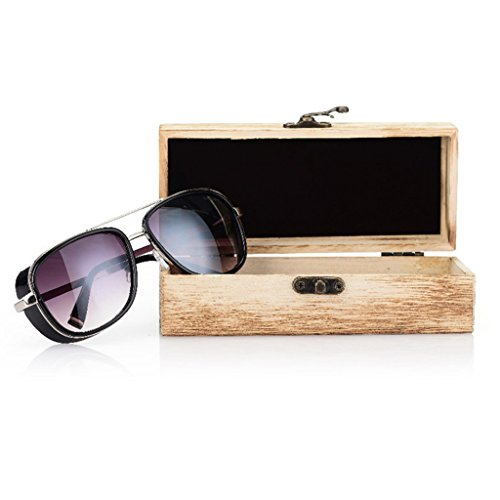 Misright Handmade Glasses Box Natural Wood Retro Bamboo Unisex Sunglasses Protection Case (Contact Lenses Sunglasses)