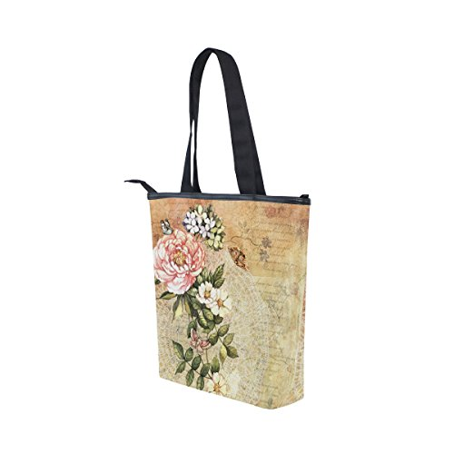 Tote Flower Shoulder Retro Floral MyDaily Womens Watercolor Canvas Handbag Bag Odq4UxZw