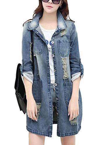 Giubotto Jeans Donna Tasche Autunno Moda Ragazze Bavero Cappotto Giaccone Manica Lunga Strappato Elegante Giacche Anteriori Style Festa Di Blu Casual 6wqdn1R