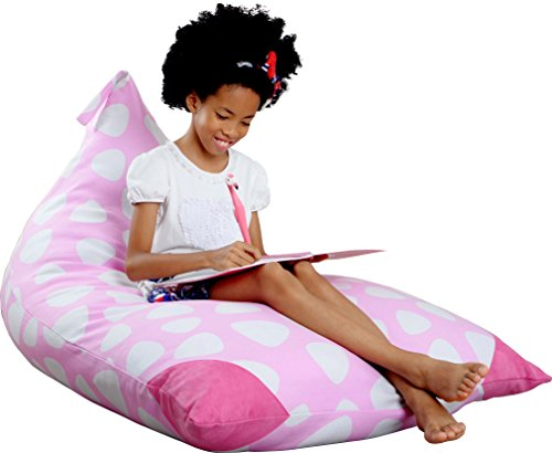 Mylola KIDS Stuffed Animal Bean Bag Storage Chair | Extra Large Premium Cotton Canvas Cover | Toy Organizer That Makes Comfy Lounger Seat | (200L/Pink) ()