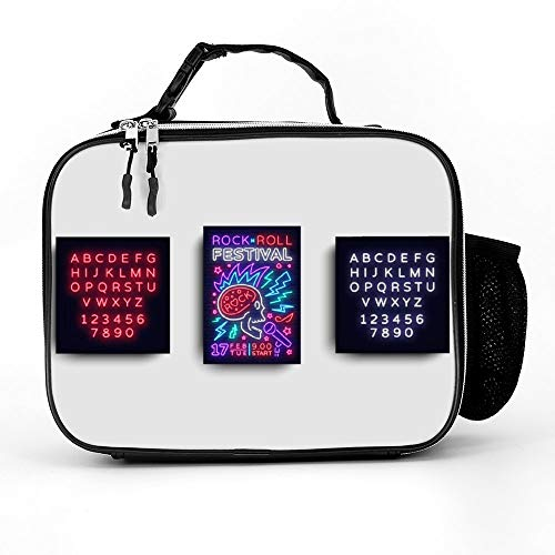 Welkoom Insulated Lunch Bag Lunch Box Cooler Bag With Rock Music Festival Flyer Design Template Rock For Men Women