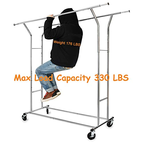 HOKEEPER 330 Lbs Load Capacity Commercial Grade Clothing Garment Racks Heavy Duty Double Rails Adjustable Collapsible Rolling Clothes Rack, Chrome Finish