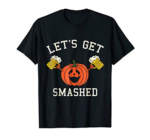 Mens Halloween Drinking Shirt - Pumpkin Says Let's Get Smashed 2XL Black