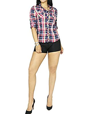 Women's Cotton Plaid Ranch Texas Style Casual Button Down Roll Up Sleeve Shirts