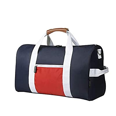 REYLEO Sports Gym Bag Small Travel Duffel Bag Water Resistant Bags with Leather Handle Color Blocking Design for Men Women RT02