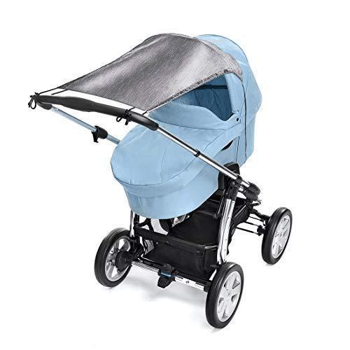 Toldo/Proteccion solar universal para cochecitos, capazos y sillas de paseo   Parasol flexible con proteccion UV 50+ y funcion de persiana enrollable - Gris