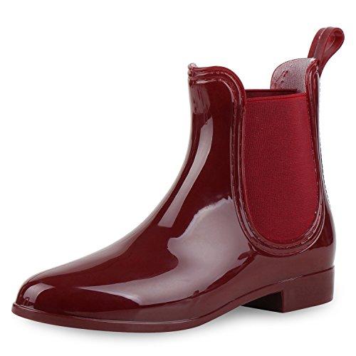 napoli-fashion - Botas de agua Mujer rojo oscuro