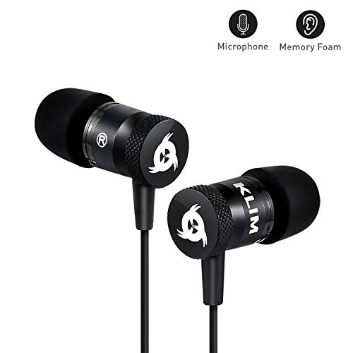 ⭐ Klim Fusion Wired Ear Buds - Long-Lasting Gaming Earbuds with Microphone + 5 Years Warranty - Innovative: in-Ear Memory Foam & Mic - [New Earpods 2018 Version] Audifonos - Earphones Audio with Bas