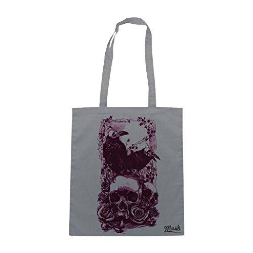 Borsa Skull & Raven Edgar Allan Poe - Grigia - Famosi by Mush Dress Your Style