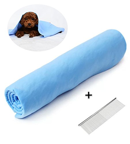 B&K DESIGN Pet Bath Towel, Fast Drying Dog Cat Towel, Ultra Absorbent PVA Towel Anti-Bacterial Eco-Friendly with Pet Stainless Steel Grooming Comb