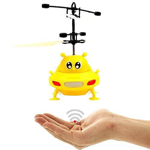 fliegendes UFO (Amarillo) - alien - con brillantes LED luces.Fácil controlar con la mano.La Navidad Hitachi 2017.El Juguete para adultos y niños.