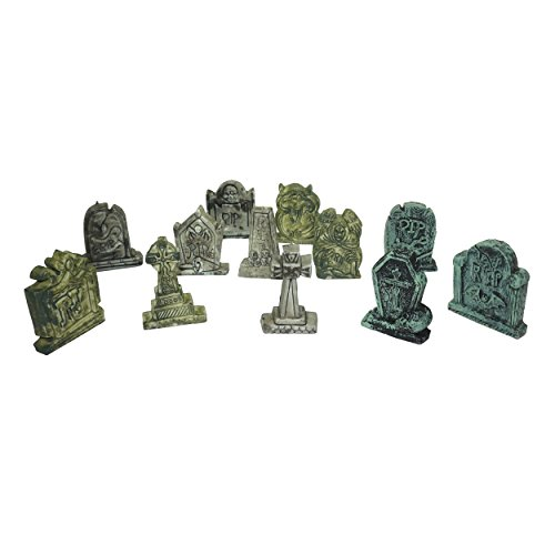 Spooktacular Creations Set of 12 Miniature Tombstones for Halloween (Halloween Village Sets)