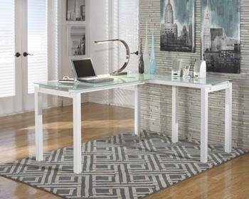 Baraga White Home Office L-Desk With Frosted Glass Top