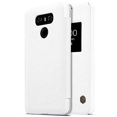 Nillkin Case for LG G6 Dual Qin Genuine Classic Leather Flip Folio PC Window Operate  amp; Smart Sleep Function White Color