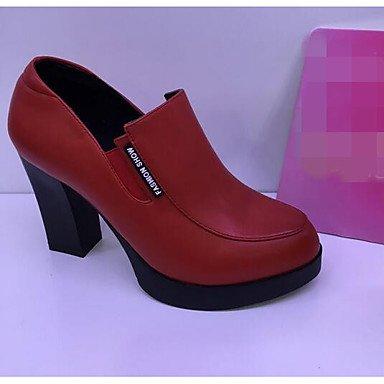 à Polyuréthane ggx Rouge Plat Talons Femme LvYuan black Noir Chaussures Printemps Cfwqxt