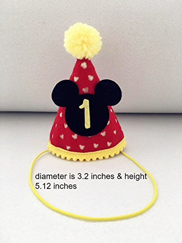 Mickey party Mini hat  First Birthday Outfit Boy Mickey Mouse Party Hat Cake Smash Outfit   1st Birthday Outfit   Party Hat   Cake Smash Cake Photoshoot (Mickey Mouse Birthday Outfit For Boys)