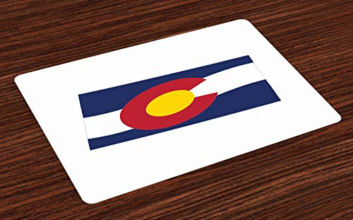 Lunarable Colorado Place Mats Set of 4, Waving State Flag Illustration Centennial State, Washable Fabric Placemats for Dining Room Kitchen Table Decor, Cobalt Blue Earth Yellow White and Dark Coral