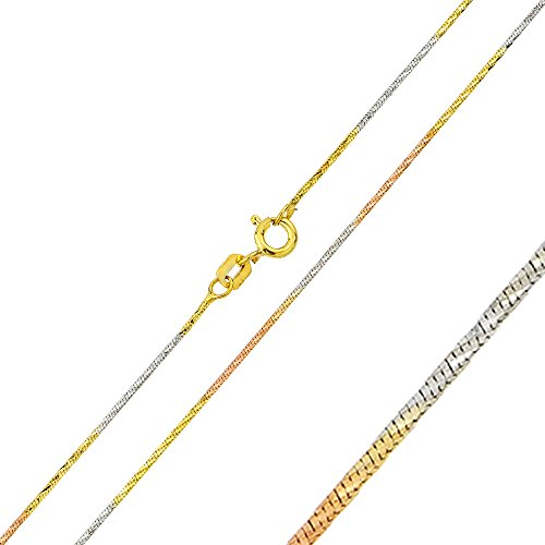 Double Accent 0.9mm Sterling Silver Italian Necklace Tri-Color DC Snake Chain (16, 18, 20 Inch), 18 ()