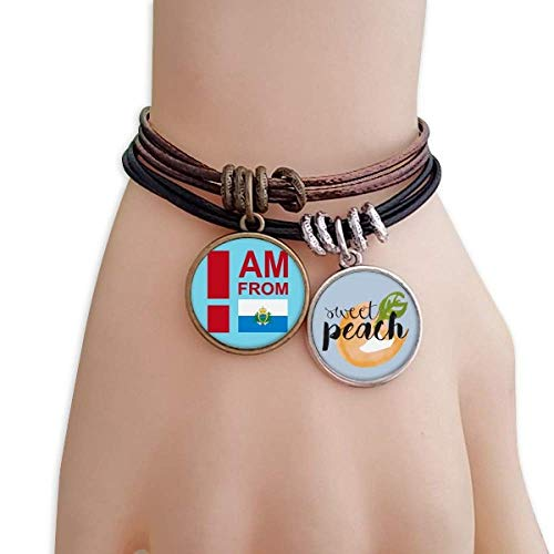 - OFFbb-USA I Am from Puerto Rico Bracelet Rope Fruit Peach Ornaments Wristband