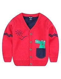 Wei juan Boys Sweater Cartoon Crocodile Long Sleeve Button Down Warm Cardigan 2-7T