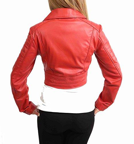 Longitud Apto Delgado House Rojo Estilo De Mujer Cuero Of Demi Chaqueta Recortado Biker Leather Corto qaaH4fvFIw