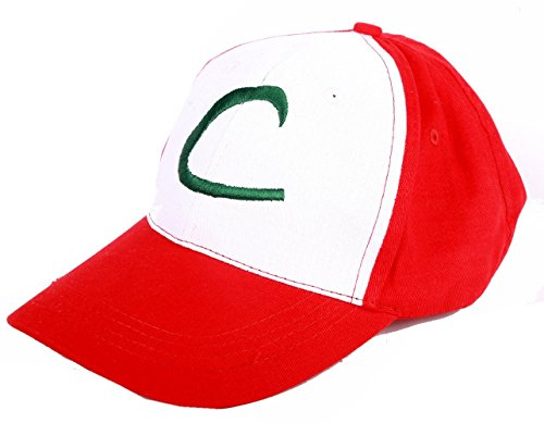 [Pokemon Ash Ketchum Cosplay Red White Adjustable Letter L Costume Hat Cap] (Letter L Costumes)