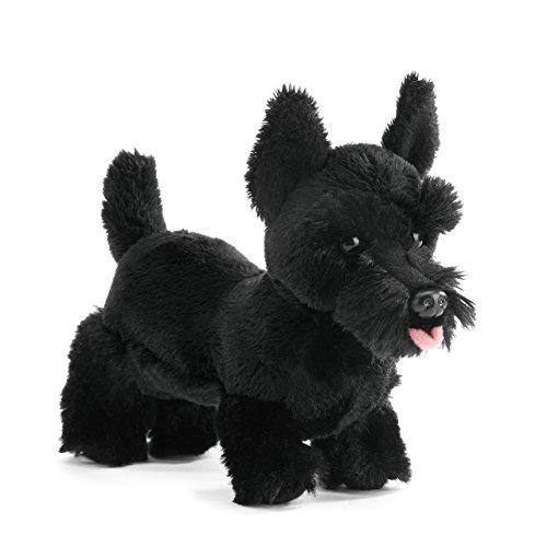 Nat and Jules Standing Small Scottish Terrier Dog Midnight Black Children's Plush Stuffed Animal Toy
