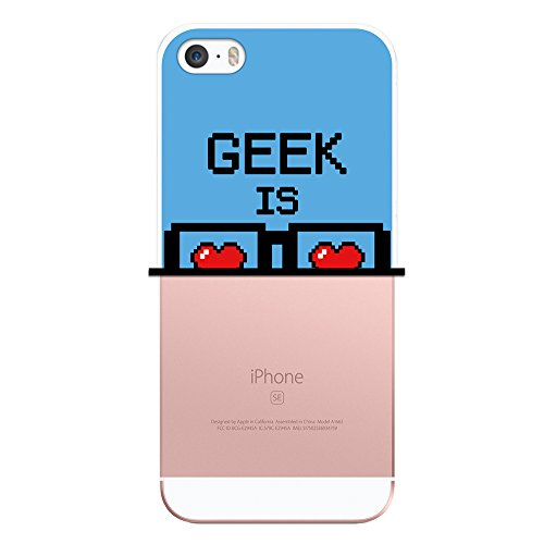 WoowCase Hülle Case für { iPhone SE iPhone 5 5S } Handy Cover Schutzhülle Pixel - Geek Is Sexy Freak
