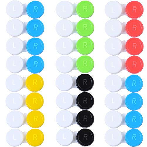 Elcoho 24 Pack Contact Lens Cases Contact Lens Holder Box Left/Right Eyes Contact Lens Container, 6 Colors (White-red, White-Yellow, White-Black, White-Green, White-Blue)]()