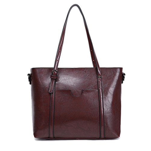 Women PU Leather Shoulder Bag Tote Satchel Red - 6