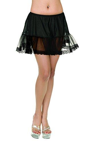 Charades Women's Lace Edge Size Costume Petticoat, Black, Plus