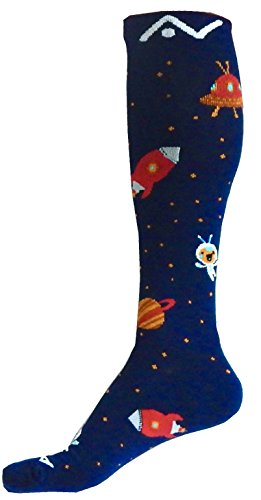 A-Swift Compression Socks (1 Pair) for Women & Men Best for Running, Athletic Sports, Crossfit, Flight Travel - Suits Nurses, Maternity Pregnancy - Below Knee High (Space Dreams, Large)
