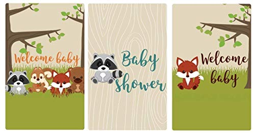 Woodland Animals Miniatures Candy Bar Favor Stickers Baby Shower Set of 54]()