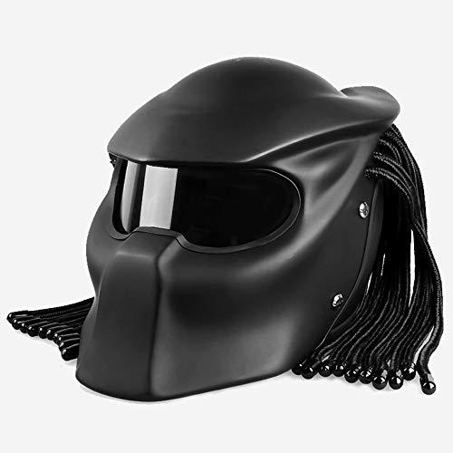 - CAKUI Matte Black Alien Warrior Motorcycle Helmet, Predator Mask with LED Light Four Seasons Universal Full Helmet, DOT Certified Helmet,M:55~56cm