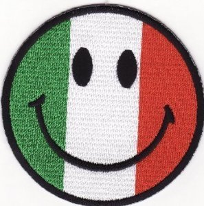 Smiley Happy Face Patches (Italy Flag) Patches Embroidered Iron on Patch by Jumboshop