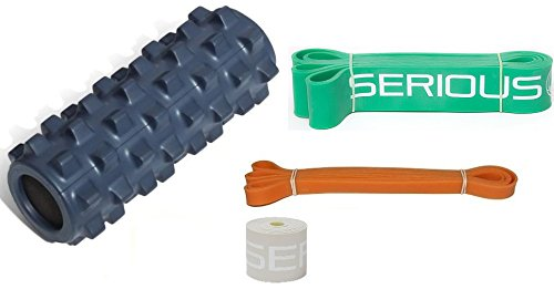 """Light Pack Half - Pack Includes: Half Size Original Blue Rumble Roller [RRC126], Black Mobility Tack and Floss Band [.051"""" T x 2"""" W x 7' L], Green Pull-Up Assist Stretch band [1.75"""" W x 41"""" L] & Orange Mobilty/Resistance Band [ 1/2"""" T x 41"""" L]"""