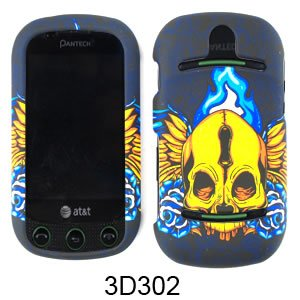 (For Pantech Pursuit II P6010 PT6010 Case Cover - Skull with Wings Black Rubberized Blue Yellow 3D302)